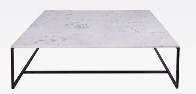 Casa Padrino Luxus Couchtisch Schwarz / Weiß 120 x 120 x H. 35 cm - Moderner quadratischer Wohnzimmertisch mit Carrara Marmorplatte und Edelstahl Gestell - Luxus Wohnzimmer Möbel