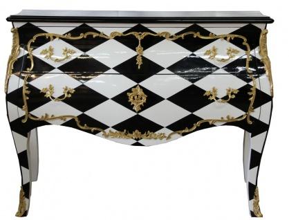 Casa Padrino Barock Kommode Karo Design 124 cm Antik Look