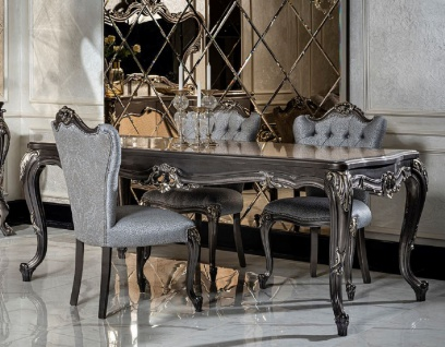 Casa Padrino Luxus Barock Esszimmer Set Hellblau / Dunkelgrau - 1 Esstisch & 6 Esszimmerstühle - Edle Esszimmer Möbel im Barockstil