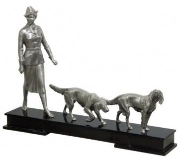 Casa Padrino Luxus Bronzefiguren Jägerin und Hunde Silber / Schwarz 61 x 11 x H. 45 cm - Luxus Dekofiguren mit Holzsockel
