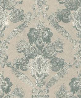 Casa Padrino Barock Textiltapete Beige / Grün / Weiß 10, 05 x 0, 53 m - Wohnzimmer Deko Accessoires
