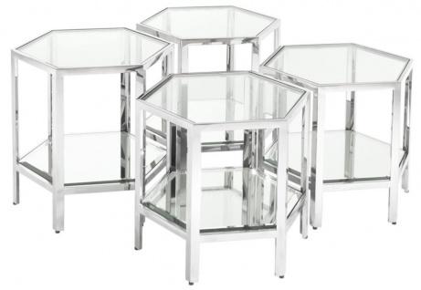 Casa Padrino Luxus Couchtisch 4er Set Silber - Designer Wohnzimmertisch