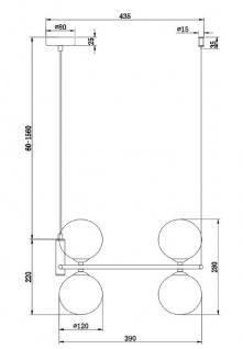 Casa Padrino Luxus Hängeleuchte Weiß / Weiß Ø 39 x H. 28 cm - Moderne höhenverstellbare Metall Hängelampe mit runden Glas Lampenschirmen - Vorschau 3