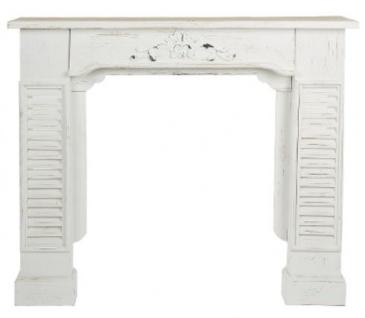Casa Padrino Landhausstil Shabby Chic Kaminumrandung Antik Weiß 115 x 23 x H. 100 cm - Handgefertigte dekorative Kaminumrandung mit Verzierungen - Vorschau 2