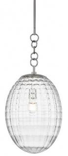 Casa Padrino Luxus Hängeleuchte Silber Ø 30, 5 x H. 68, 6 cm - Pendelleuchte mit eiförmigen Glas Lampenschirm - Wohnzimmer Lampe