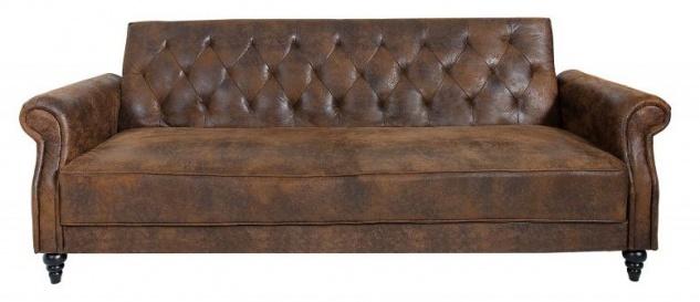 Chesterfield Sofa Antik Braun mit Schlaffunktion aus dem Hause Casa Padrino - Wohnzimmer Möbel - Couch