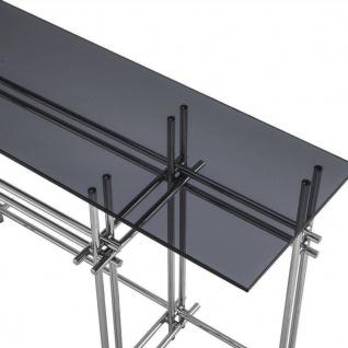 Casa Padrino Designer Konsole Silber / Grau 131 x 36, 5 x H. 73 cm - Edelstahl Konsolentisch mit Glasplatte - Designer Möbel - Luxus Qualität - Vorschau 5