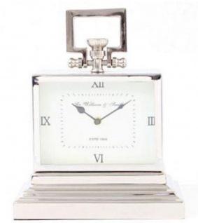 Casa Padrino Messing Deko Uhr Silber 32 x 15 x H. 38 cm - Luxus Tischuhr