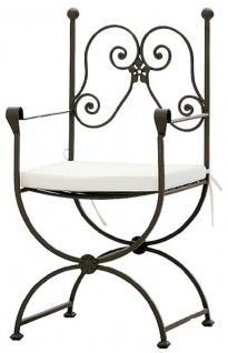 Casa Padrino Luxus Jugendstil Gartenstuhl Set mit Armlehnen und Sitzkissen Braun / Weiß 60 x 44 x H. 97 cm - Handgeschmiedete Esszimmer Stühle - Esszimmer Garten Terrassen Möbel - Vorschau 2
