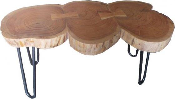 Casa Padrino Beistelltisch Akazien Holz / Eisen 80 - 120 cm - Industrial Möbel Hocker Tisch - Vorschau 2