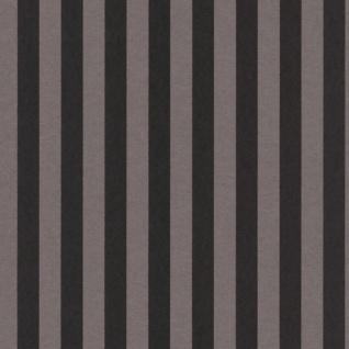 Casa Padrino Barock Textiltapete Schwarz / Grau 10, 05 x 0, 53 m - Barock Tapete mit Streifen