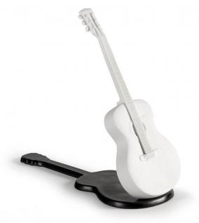 Casa Padrino Luxus Porzellan Akustische Gitarre Weiß / Schwarz 20 x H. 18 cm - Handgefertigte Wohnzimmer Deko Skulptur