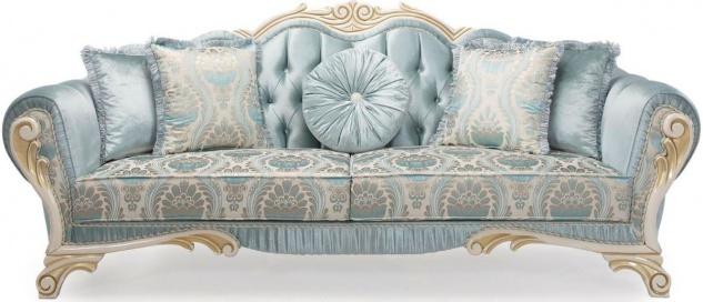 Casa Padrino Luxus Barock Sofa mit dekorativen Kissen Türkis / Creme / Gold 234 x 87 x H. 99 cm - Wohnzimmermöbel im Barockstil