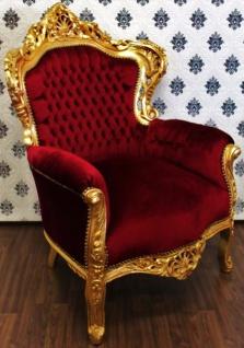 Casa Padrino Barock Sessel King Bordeaux / Gold - Möbel im Antik Stil