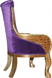 Casa Padrino Barock Lounge Sessel Mod2 Lila / Gold 71 x 76 x H. 110 cm - Club Möbel