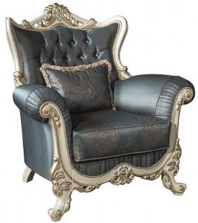 Casa Padrino Luxus Barock Wohnzimmer Sessel mit Glitzersteinen und dekorativem Kissen Blau / Creme / Gold 110 x 85 x H. 112 cm - Barockstil Möbel