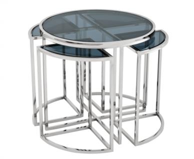 Casa Padrino Luxus Art Deco Designer Beistelltisch 5er Set mit Rauchglas - Luxus Qualität