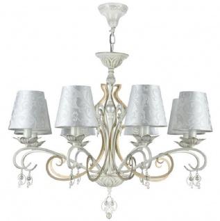 Casa Padrino Barock Kronleuchter Antik Weiß / Gold / Silber Ø 76 x H. 59 cm - Prunkvoller Kronleuchter mit dekorativen Perlen