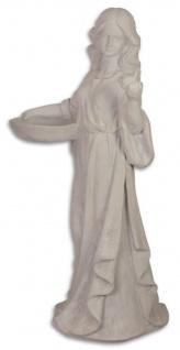 Casa Padrino Figur / Skulptur Dame mit Vogelbad Weißgrau 45, 5 x 45, 3 x H. 96, 2 cm - Garten Terrassen Deko