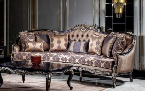 Casa Padrino Luxus Barock Sofa Gold / Lila - Prunkvolles Wohnzimmer Sofa mit elegantem Muster und dekorativen Kissen - Wohnzimmer Möbel im Barockstil