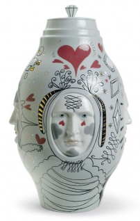 Casa Padrino Designer Porzellan Vase Grau / Mehrfarbig Ø 27 x H. 39 cm - Handgefertigtes & Handbemaltes Luxus Deko Objekt