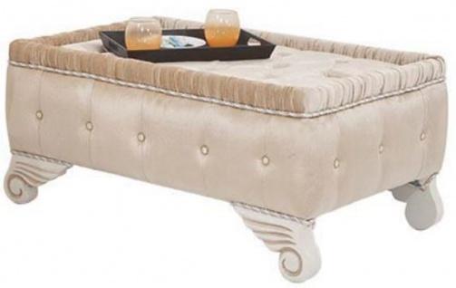 Casa Padrino Luxus Barock Hocker Beige / Weiß 100 x 63 x H. 46 cm - Sitzhocker mit edlem Samtstoff - Wohnzimmer Möbel im Barockstil