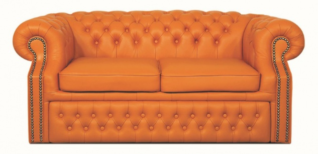 Casa Padrino Echtleder 2er Sofa Orange 180 x 100 x H. 78 cm - Luxus Chesterfield Schlafsofa