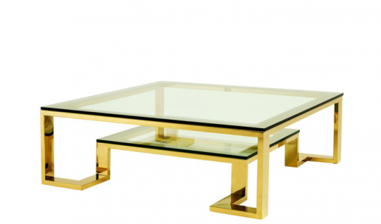 Casa Padrino Luxus Art Deco Designer Couchtisch Gold 120 x 120 x H. 40 cm - Wohnzimmer Salon Tisch - Luxus Hotel Möbel