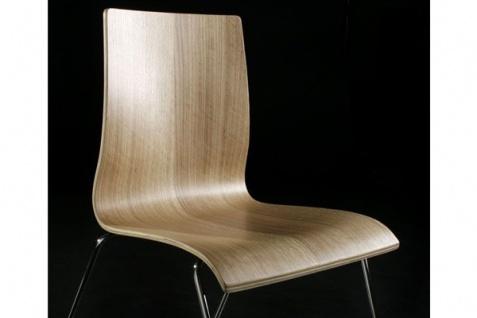 Designer Stuhl aus Holz und verchromtem Stahl Schwarz in natürlicher Holzoptik, Esszimmerstuhl, moderner Wohnzimmerstuhl - Vorschau 3