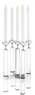 Casa Padrino Luxus Kristallglas Kerzenhalter Silber 18, 5 x 18, 5 x H. 42 - Luxus Qualität