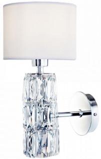 Casa Padrino Designer Wandleuchte Silber / Weiß 15 x 19 x H. 31 cm - Moderne Metall Wandlampe mit eleganten Glaselementen und rundem Lampenschirm