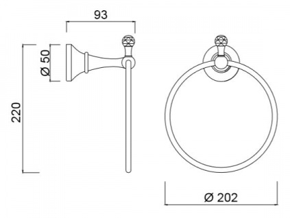 Luxus Handtuchhalter / Handtuchring mit Swarovski Kristallglas Silber 20, 2 x 9, 3 x H. 22 cm - Luxus Bad Zubehör Made in Italy - Vorschau 2