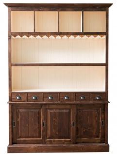 Casa Padrino Landhausstil Barschrank Braun / Weiß 150 x 35 x H. 210 cm - Massivholz Schrank - Landhausstil Bar Möbel