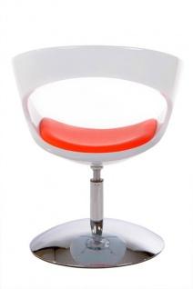Casa Padrino Designer Stuhl Weiß/Rot, drehbar - Moderner Stuhl - Vorschau 2