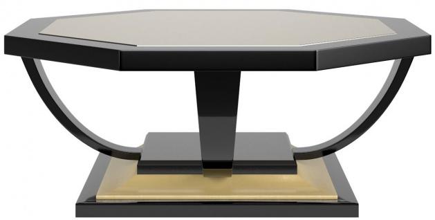 Casa Padrino Luxus Art Deco Couchtisch Schwarz / Gold 130 x 130 x H. 45 cm - Eleganter 8-eckiger Wohnzimmertisch im Barockstil - Barock Möbel