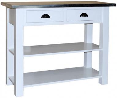 Casa Padrino Landhausstil Konsole mit 2 Schubladen Weiß / Silber 110 x 45 x H. 89 cm - Konsolentisch mit verzinkter Platte