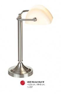 Wunderschöne Schreibtischleuchte mit Glaskristallschirm, Bankerlampe in Silber/Weiß, H 40cm, D 26cm, Nickel Matt LB