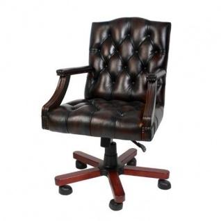 Luxus Echtleder Büro Stuhl Braun Drehstuhl Schreibtisch Stuhl - Chefsessel