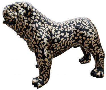 Casa Padrino Designer Dekofigur Hund Bulldogge mit Glitzer Look Schwarz / Gold 90 x H. 74 cm - Wetterbeständige Deko Skulptur - Wohnzimmer Deko - Garten Deko - Designer Deko Tierfigur