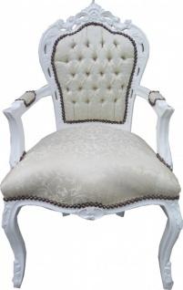 Casa Padrino Barock Esszimmer Stuhl mit Armlehnen Weiss Muster / Weiß - Antik Möbel - Limited Edition