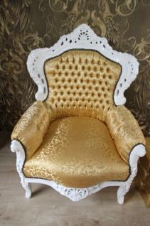 Barock Sessel King Gold Muster / Weiss - Möbel Antik Stil - Vorschau 2