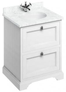 Casa Padrino Waschschrank / Waschtisch mit Marmorplatte und 2 Schubladen - Luxus Edition