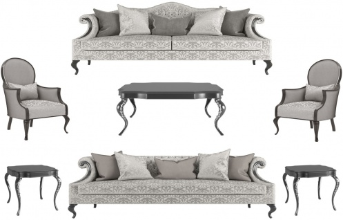 Casa Padrino Luxus Barock Wohnzimmer Set Silber / Grau / Schwarz - 2 Sofas & 2 Sessel & 1 Couchtisch & 2 Beistelltische - Wohnzimmermöbel im Barockstil - Edle Barock Möbel