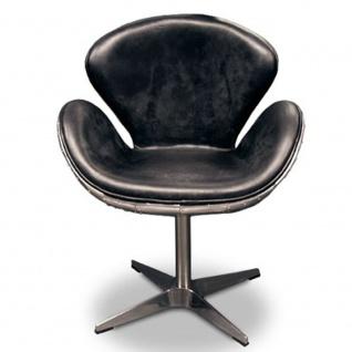 Luxus Art Deco Schreibtisch Stuhl Echtleder Schwarz / Aluminium Drehstuhl Drehsessel - Chefsessel - Air Wing Flugzeug Vintage Sessel Stuhl