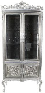 Casa Padrino Barock Vitrine Silber / Schwarz 100 x 40 x H. 170 cm - Prunkvoller Barock Vitrinenschrank mit 2 Glastüren wunderschönen Verzierungen und Glitzersteinen
