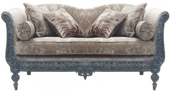 Casa Padrino Luxus Barock Sofa Hellgrau / Hellblau 147 x 100 x H. 83 cm - Handgeschmiedetes Schmiedeeisen Sofa mit Kissen - Wohnzimmer Sofa - Garten Sofa - Terrassen Sofa - Barock Möbel