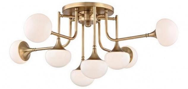 Casa Padrino Luxus LED Deckenleuchte Antik Messingfarben / Weiß Ø 92, 7 x H. 36, 8 cm - Deckenlampe mit kugelförmigen Glas Lampenschirmen - Luxus Qualität
