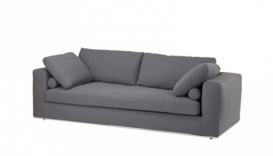 Casa Padrino Luxus Sofa Dunkelgrau mit poliertem Stahl Sockel - Luxus Kollektion