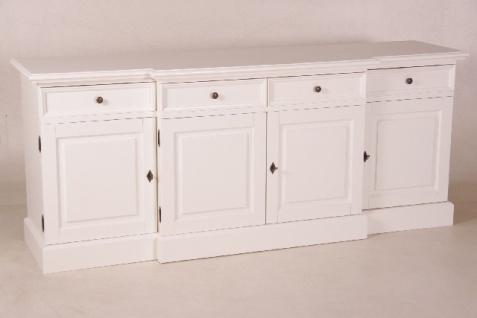 Casa Padrino Shabby Chic Landhaus Stil Sideboard Dielen Schrank Weiß B 216 H 90 cm Möbel Diele Esszimmer - Vorschau