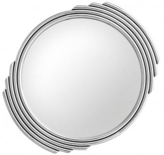 Casa Padrino Designer Edelstahl Spiegel Silber Ø 100 cm - Luxus Wohnzimmer Wandspiegel